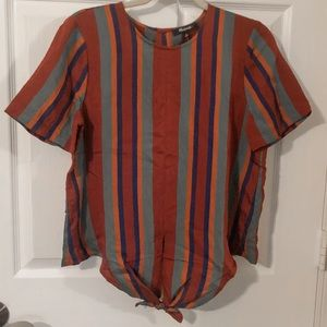 NWT   Madewell   Maroon Striped Casual Tie Top